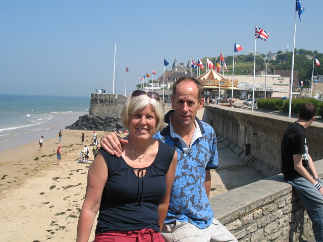 me with Mike on the beach in Normandy