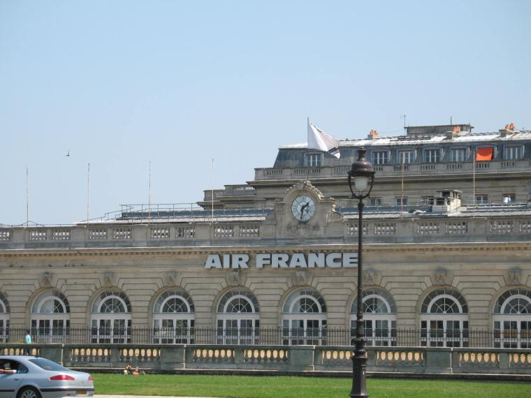 We pass the Air France building on the way to the Louvre