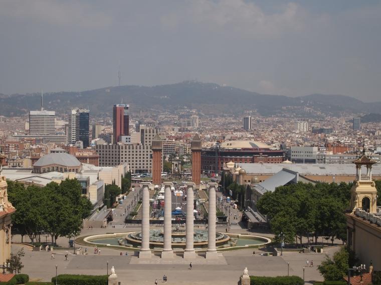 view of Barcelona from Museu Nacional d'Art de Catalunya-MNAC