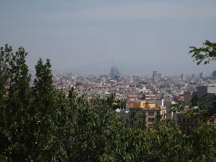 view of Sagrada de Familia from the Museu Nacional D'Art de Catalunya