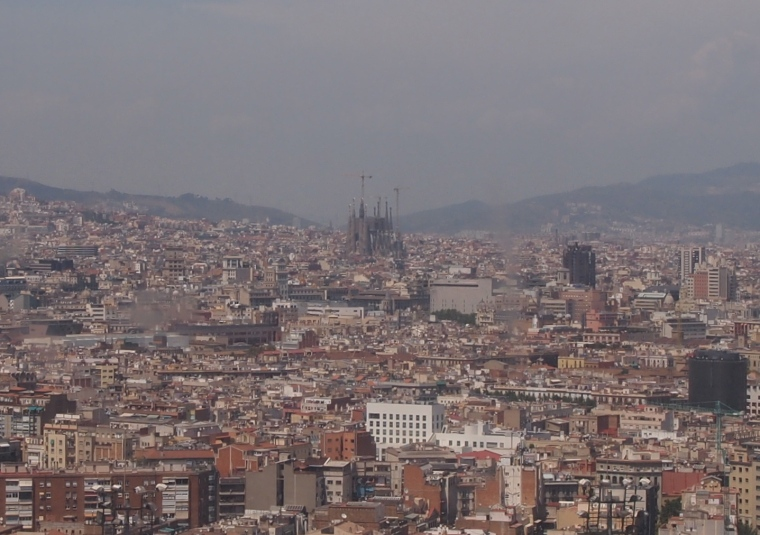 view of Sagrada de Familia from Fundació Joan Miró