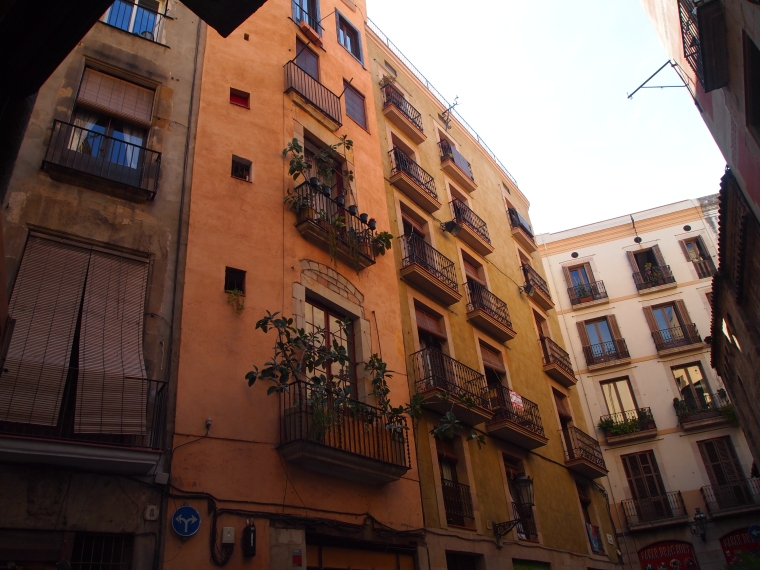 balconies in the square in La Ribera