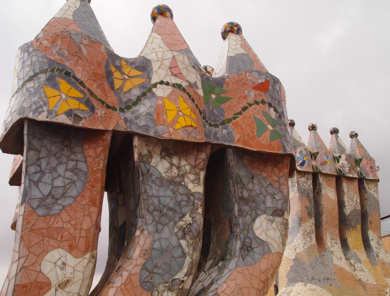 mosaic covered chimney pots