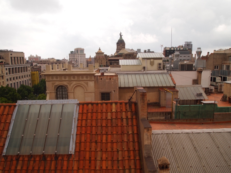 view of Barcelona rooftops from Casa Batllo