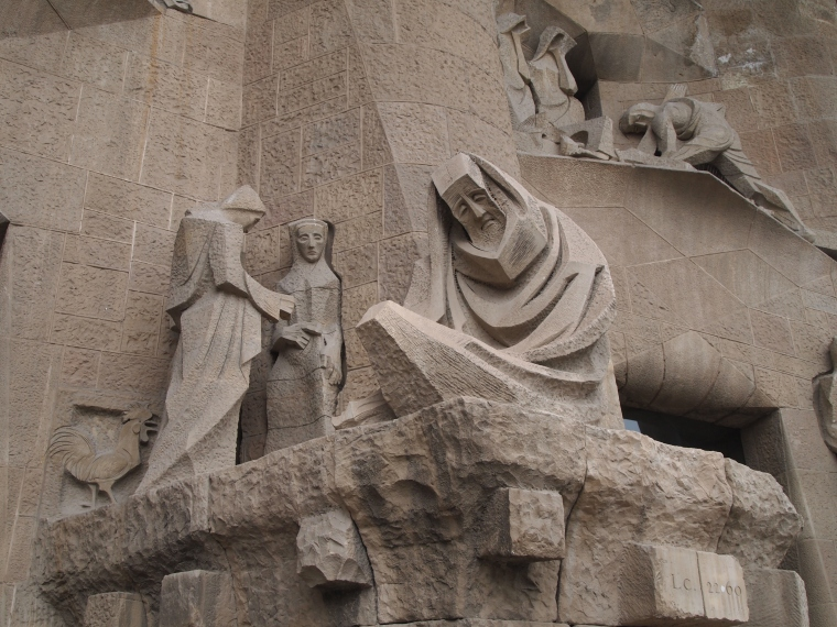 Part of the Passion Facade, completed after Gaudi's death