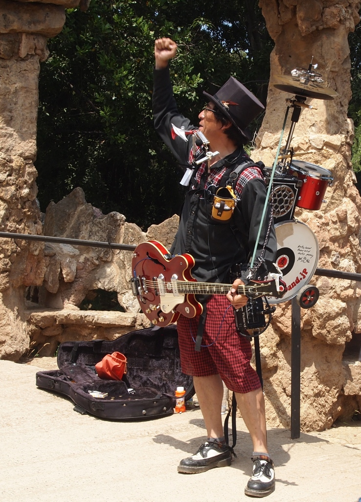 one of many performers at Park Güell
