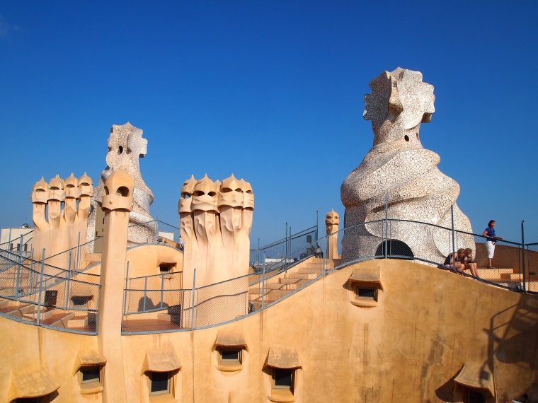 Chimney pots on the roof of La Pedrera