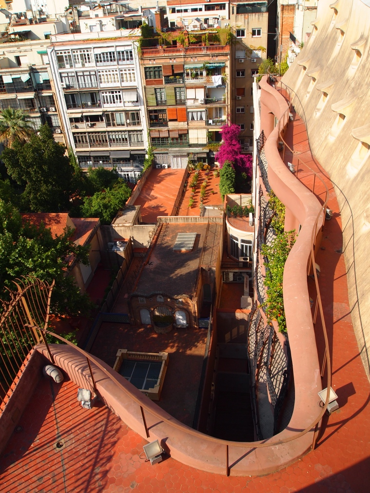 view off the roof of La Pedrera