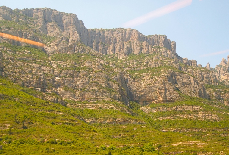 first view of Montserrat from the train