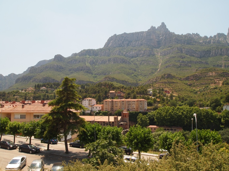 view of Montserrat from the train station