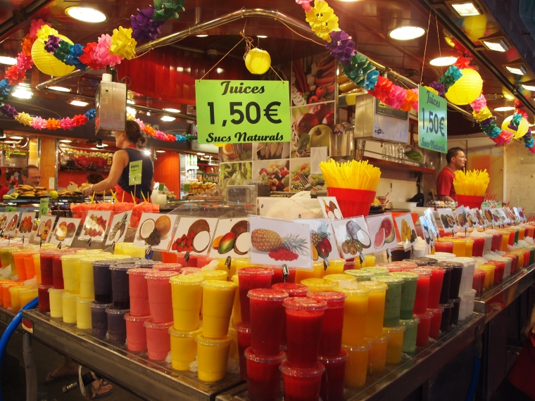 sweet fruit juices at the Mercat de la Boqueria in Barcelona