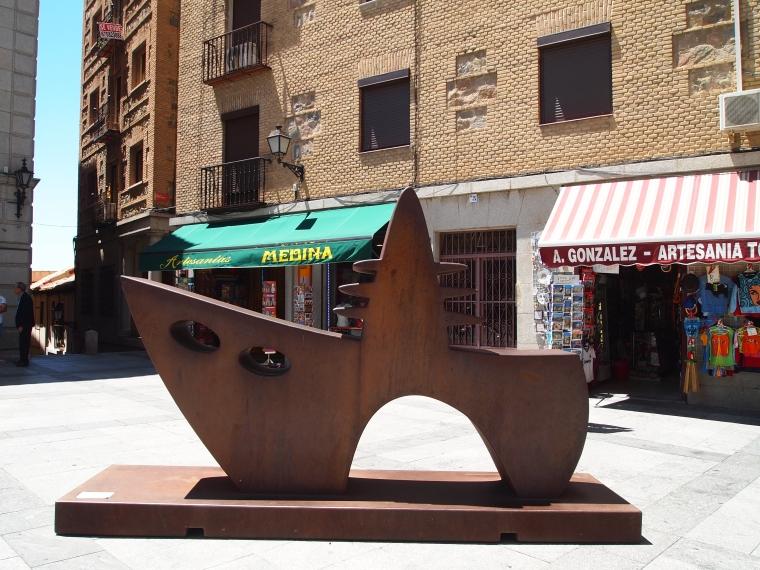 a sculpture in a small square near the Alcazar