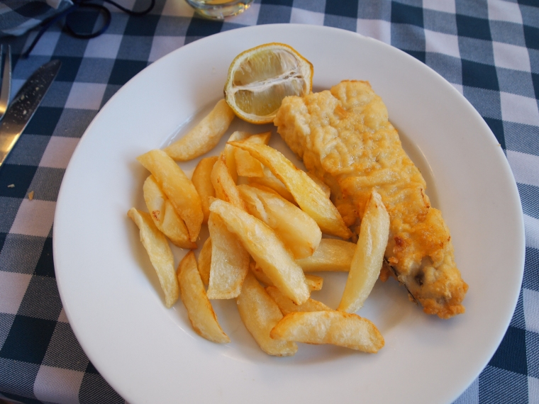 Hake fish fried in batter with potatoes