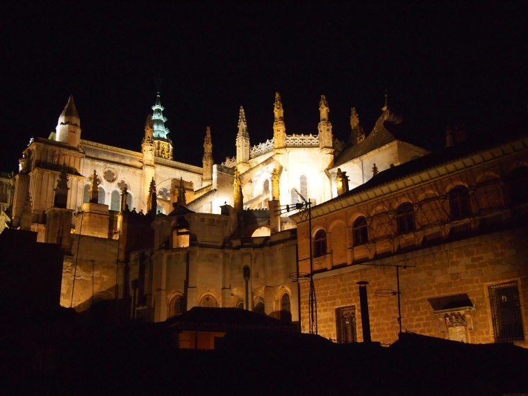 Catedral de Toledo at night from my hotel balcony