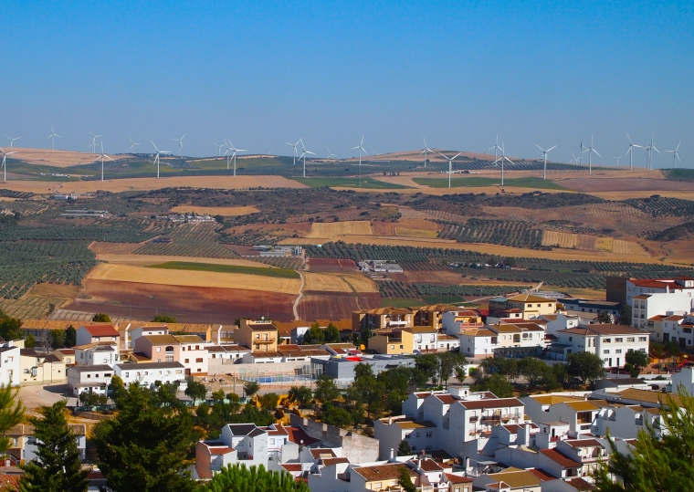 view from Castillo de Teba with a wind farm in the distance