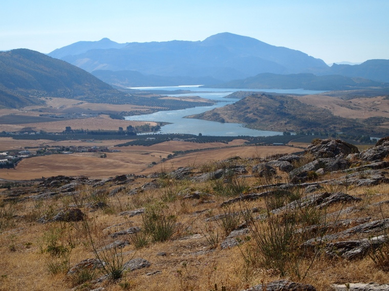 view of a reservoir from Castillo de Teba