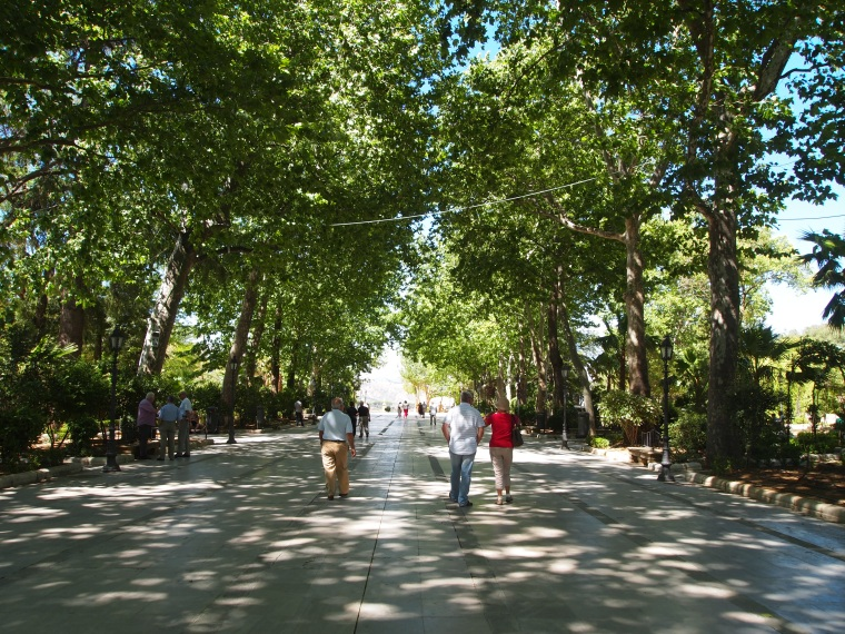 a shady and breezy park in Ronda