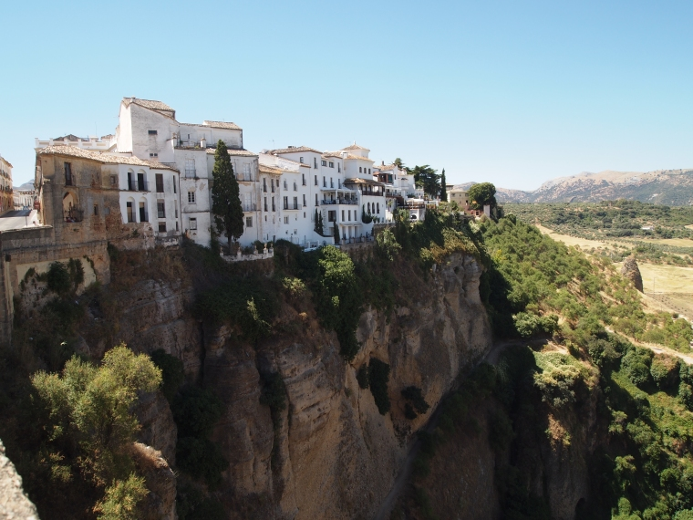 half of Ronda perched on one side of the gorge