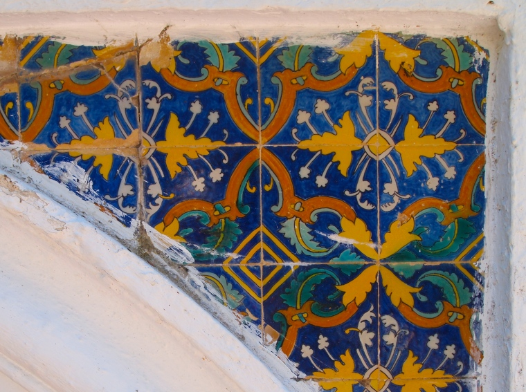 tiles on a bench at Palacio del Rey Moro