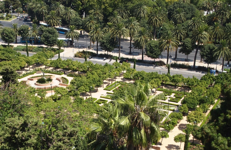 view of gardens from the Alcazaba