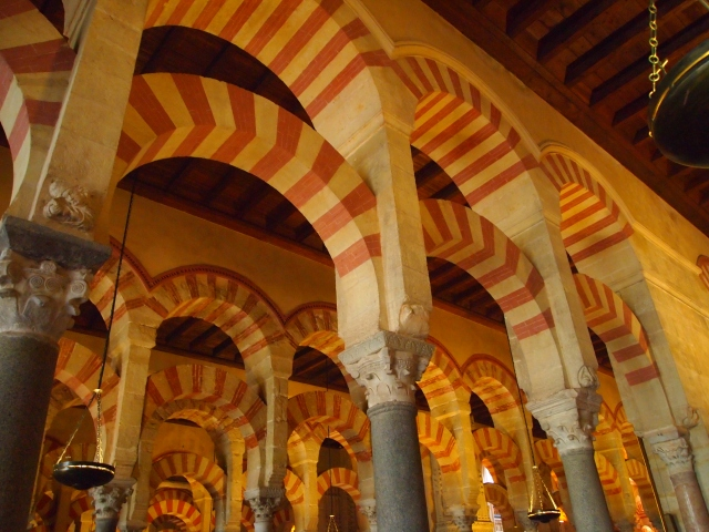 my first glimpse of the pillars and arches inside the Mezquita