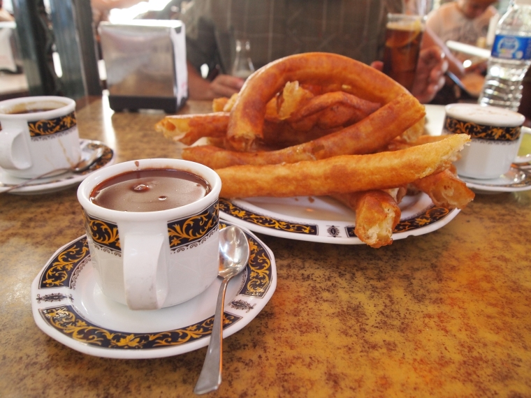 churros and chocolate in Granada, Spain