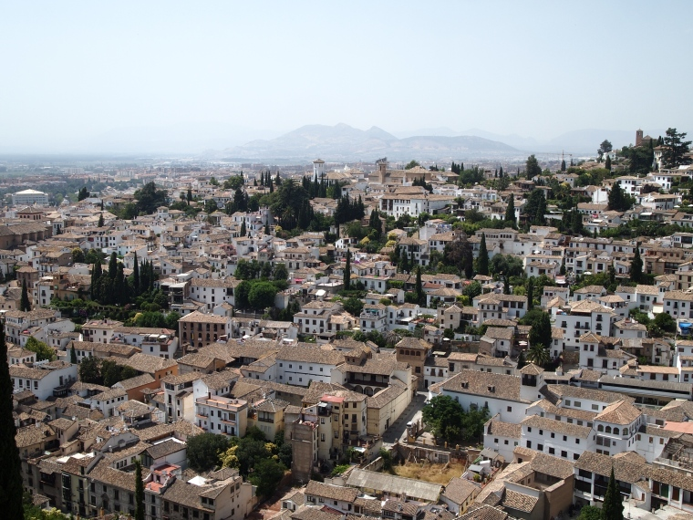 view of Granada from the Alcazaba at the Alhambra