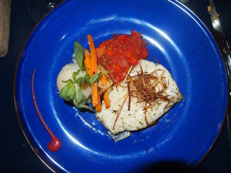 Cod loin served with seasonal vegetables