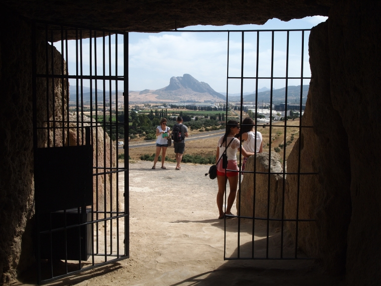 the view from inside Dólmen de Menga to the Sleeping Giant