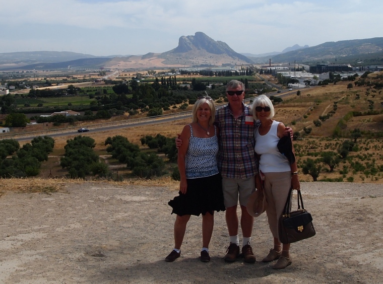 me, Barry and Carole at Dólmen de Menga, with the Sleeping Giant behind