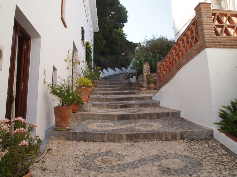 walking up the streets of Frigiliana