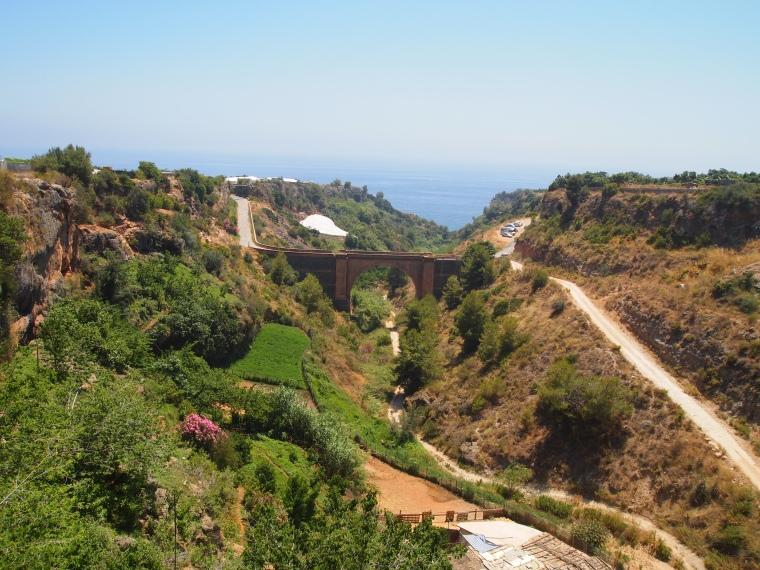 looking from the bridge south of the aqueduct to the sea