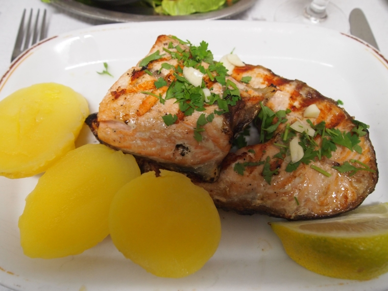 Salmao Grelhado, or Grilled Salmon at Restaurante Bica