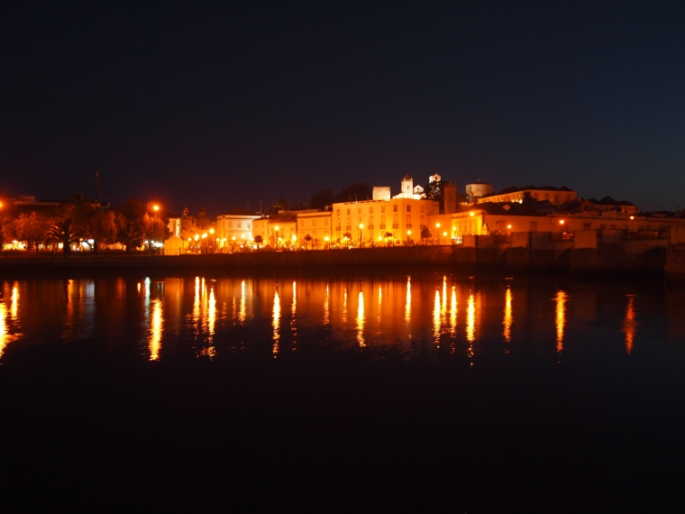 a night view of the River Gilão