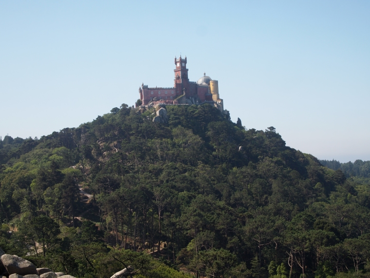 view of Palace of Pena from Castelo dos Mouros