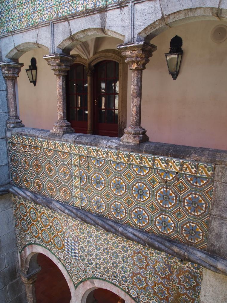 Cloister with tile work at Palácio Nacional da Pena