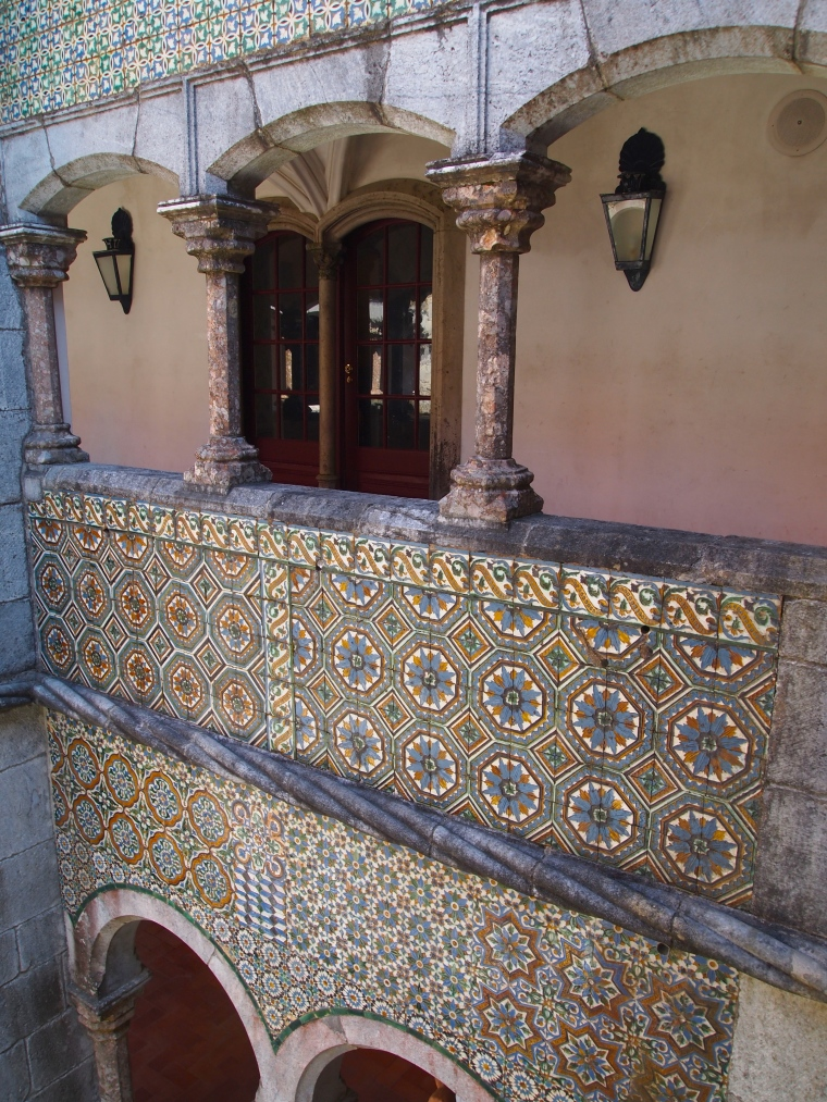 Cloister with tile work at Palácio Nacional da Pena