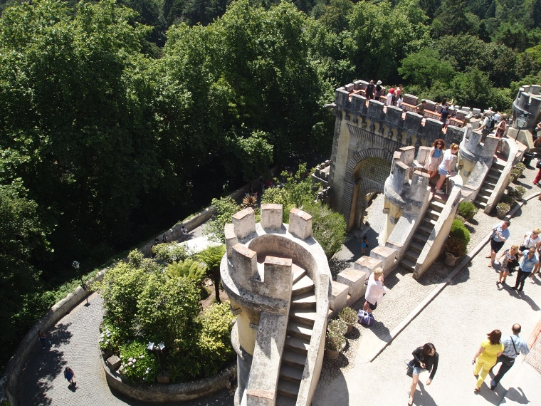 looking down from the Queen's balcony at Palácio Nacional da Pena
