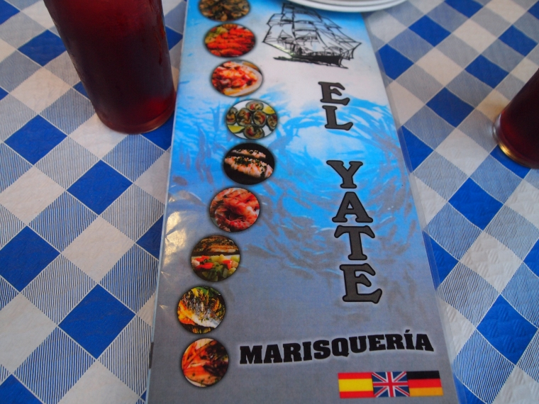 the menu for El Yate, which means The Yacht