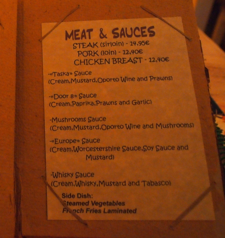 a menu of sauces