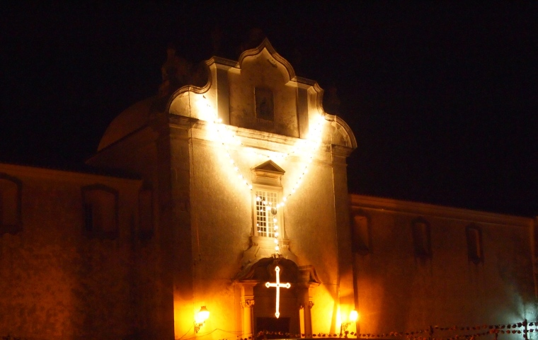 the Church of Carmo with a necklace of lights