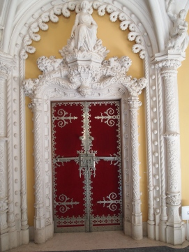door in the Hunting Room in the Main House of Quinta da Regaleira