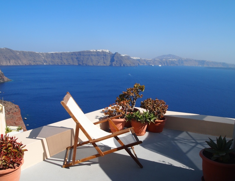 the sea from Oia, Santorini, Greece