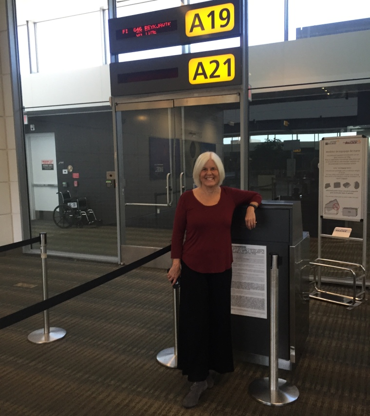 me at Dulles International Airport, waiting for our flight to Iceland