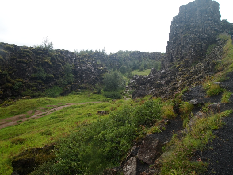 view of the tectonic plates where Europe and North America are tearing away from each other