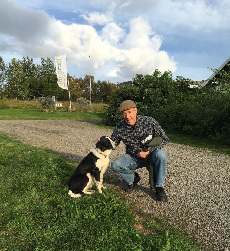 Mike with a Border Collie at the Lamb Inn