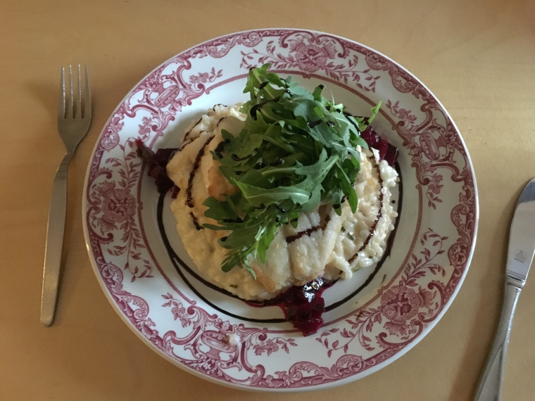 Cod with risotto & arugula