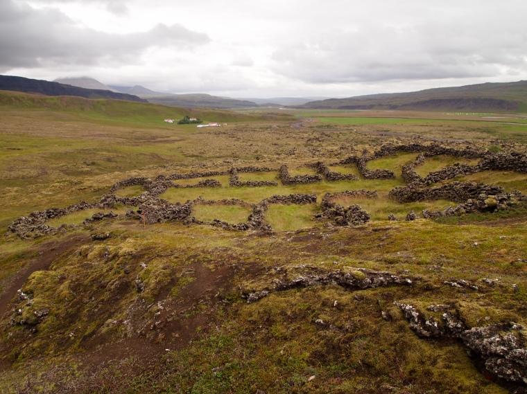 settlement ruins below Grábrók Crater