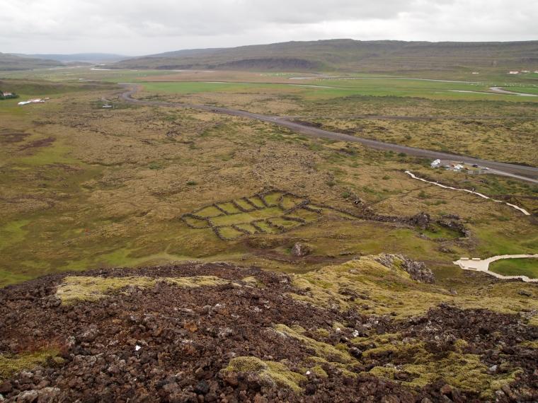 settlement ruins beneath Grábrók Crater