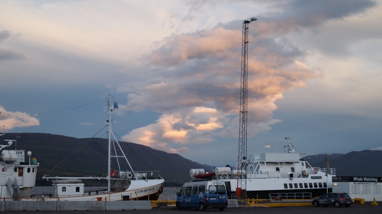 The harbor at Eyjafjörður, the longest fjord in Iceland